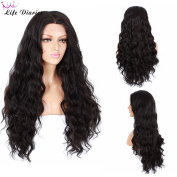 Life Diaries 250%Density Fashion Long Natural Wave 10%Human Hair+90%Heat Resistant Fibre Glueless Lace Front Synthetic Wig For Women