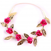 Stofirst Kids Girls Boho Mini Rose Flower Headband Hairband Fashion Cute Wedding Party Festivals Holiday Floral Crown Wreath Garland for 1-7 Years Old Kids