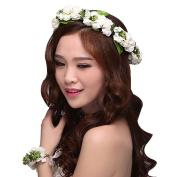 Stofirst Women Girls Artificial Flower Wreath Crown Fashion Bohemian Braided Wedding Party Beach Floral Headband Wristband Set