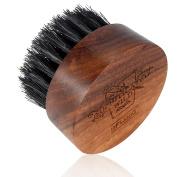 BFWood Beard Brush Boar Bristles Small Round Shape with Travel Case