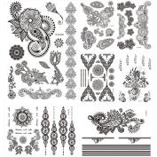7 Sheets Fake Black Flower Lace Jewellery Temporary Waterproof Tattoo Sticker for Women Beauty