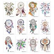 12 Sheets Dreamcatcher Decal Flower Body Arm Art Tattoo Sticker for Beauty Women Makeup