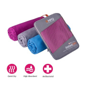 EMPO® Microfibre Travel Towel Large 150cm x 80cm Sports with zip carry bag - LIFETIME WARRANTY - Super Absorbent Quick Dry, Compact & Lightweight, Maximum Comfort - Perfect for swimming, beach, hiking, gym, camping, sports, bath, yoga, backpacking, pil ..