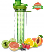 Fruit Infuser Water Bottle with Unique Insulated No-Sweat Sleeve - multiple colour options - 750ml - BPA-Free - Ideal for detox and Sports & Outdoors