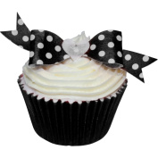 Pack of 12 perfectly cut Black Polka Dot Bows by CDA Products 201-669