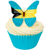 Pack of 12 perfectly cut Bahamas Flag Butterfly by CDA Products 201-513