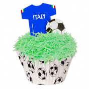 24 Toppers + 12 Cases + Sprinkles perfectly cut Italy Football Kit by CDA Products 201-420-K