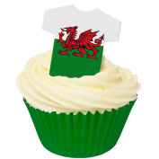 Pack of 12 Edible Wafer Decorations - Welsh Flag Tee Shirts 201-392