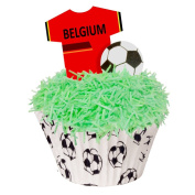 24 Toppers + 12 Cases + Sprinkles perfectly cut Belgium Football Kit by CDA Products 201-427-K