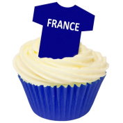 Pack of 12 Edible Wafer Decorations - France Football Shirts 201-435
