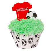 24 Toppers + 12 Cases + Sprinkles perfectly cut Switzerland Football Kit by CDA Products 201-444-K