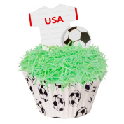 24 Toppers + 12 Cases + Sprinkles perfectly cut USA Football Kit by CDA Products 201-446-K