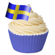 Pack of 12 Edible Wafer Decorations - Swedish Flag - Flag Shape 201-409