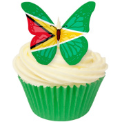 Pack of 12 perfectly cut Guyana Flag Butterfly by CDA Products 201-511