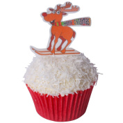12 Toppers + 12 Cases + Sprinkles perfectly cut Rudolf on Skis Edible Wafer Topper Kit by CDA Products 201-312-K