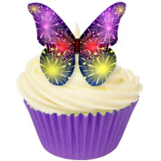 Pack of 12 Edible Wafer Decorations - Fireworks Butterfly 201-311