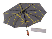 (Designed in UK) Balios Umbrella Handmade Real Wood Handle--Different Patterns with Luxury Gift Box--Windproof Fibreglass Auto Open & Close Folding -Premium 300 Thread Finest Fabric