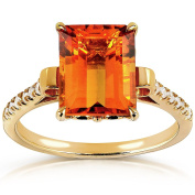 Emerald-cut Orange Citrine and Diamond Ring 2 5/8 Carat (ctw) in Silver with 14K Gold Plating