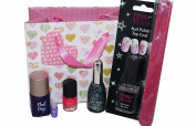 7pc Nail Art & Varnish Set, inc Glitter, File, Clear Top Coat, Colour & Glitter Varnish in Gift Bag
