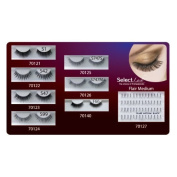 SELECT LASH FALSE EYELASHES ASSORTMENT PACK- 7 ASSORTED FULL SETS, 1 FLAIR MEDUIM INDIVIDUAL LASHES by select lash
