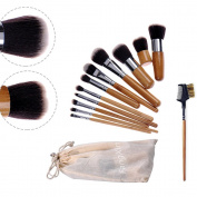 Fangxin 12 Piece Make up Brush Set Cosmetic Brushes Synthetic Eyebrow Brush with Bamboo Handle + Bags
