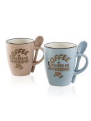 Coffee mugs with spoon in 2 Colours 12 x 8.5 x 12 cm