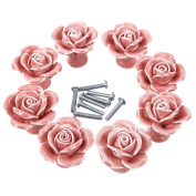 Foxom Novelty Ceramic Floral Rose Cupboard Door Knobs Drawer Kitchen Pull Handle with Screw 8pcs, Pink
