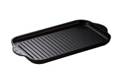 Euro Lux with 37.5 x 9 x 2,5 cm Cast Iron Grill Plate - For Induction Full Ceramic Surface PFOA-Free Made in Germany