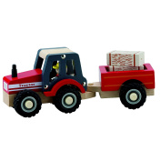 New Classic Toys Tractor with Trailer and Bales of Hay