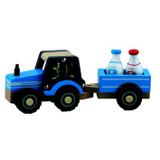 New Classic Toys Tractor with Trailer and Milk Jugs