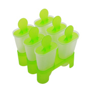 Cadillaps 6 Cell Frozen Ice Pop Marker Fruit Juice Yoghurt Ice Cream Lolly Mould Popsicle Mould Tray Green