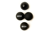 Massage Lacrosse Ball Set by 4KOR Fitness, Peanut Ball + 1 Lacrosse Ball + 1 Soft Spiky Ball for Myofascial Release and Trigger Point Therapy, with Guide and Free Carrying Case