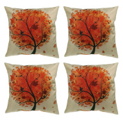 "Luxbon Set of 4Pcs Orange Leaves Tree of Life with Cushion Covers Durable Cotton Linen Thow Pillows Shell Case18""x18"" 45x45cm"