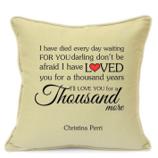 Christina Perri Thousand Years Love Song Cushion Cover Gift for Him Her Husband Wife Girlfriend Boyfriend Valentines Day Wedding Anniversary Gifts 18 Inch 45 cm Beige