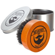BEARDED BEN premium quality teak beard brush with natural boar bristles, perfectly grooms and massages to ease itchy flaky beards, for beard oil, beard butter or beard balm with 2 years' satisfaction guaranteed