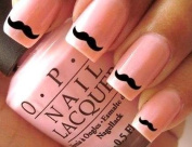 30 Moustache Nail Art Tips Stickers False Nail Design Manicure Decals Gems Glitter Toe