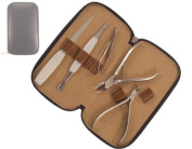 Mundial Classic Line 5 Piece Manicure Set in Leather Case