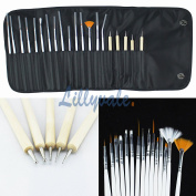 20pcs Nail Art Design Painting Dotting Detailing Pen Brushes Bundle Tool Kit Set by Lillyvale