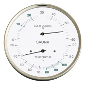Sauna Thermo-Hygrometer, stainless steel case, diameter 130 MM