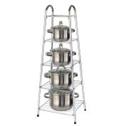 Top Home Solutions® 90cm High 5 Tier Chrome Kitchen Pan Stand Pot Saucepan Storage Organiser Unit Rack Holder