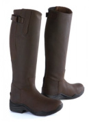 Toggi Calgary Long Leather Riding Boot With Full Zip, Wide Leg Fitting, In Cheeco Brown, Size