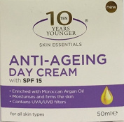 THREE PACKS of 10 Years Younger Skin Essentials Anti-Ageing Day Cream SPF15 50ml