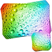 Rainbow Multi Coloured Water Droplets Set of 4 Placemats and Coasters