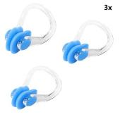 3 Pcs PVC Silicone Swim Swimming Nose Clip Clear Blue
