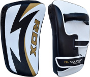 RDX MMA Cowhide Leather Strike Shield Curved Thai Pad Kick Target Boxing Punching Mitts Training