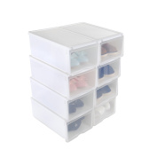 Shoe Box, HST Mall Ladies Men Stackable Plastic Shoe Storage Box Organiser with Clear Door Set of 8 33cmx22cmx14cm White