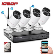 Yeskam Security Camera System Wireless 1080P 4 Channel 2.0 Megapixel Outdoor Surveillance Cameras Preinstalled with 1TB Hard Drive for Home Remote View on Smartphone App