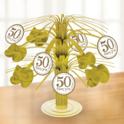 Amscan International 9902220 Sparkling Golden Anniversary Foil Centrepiece
