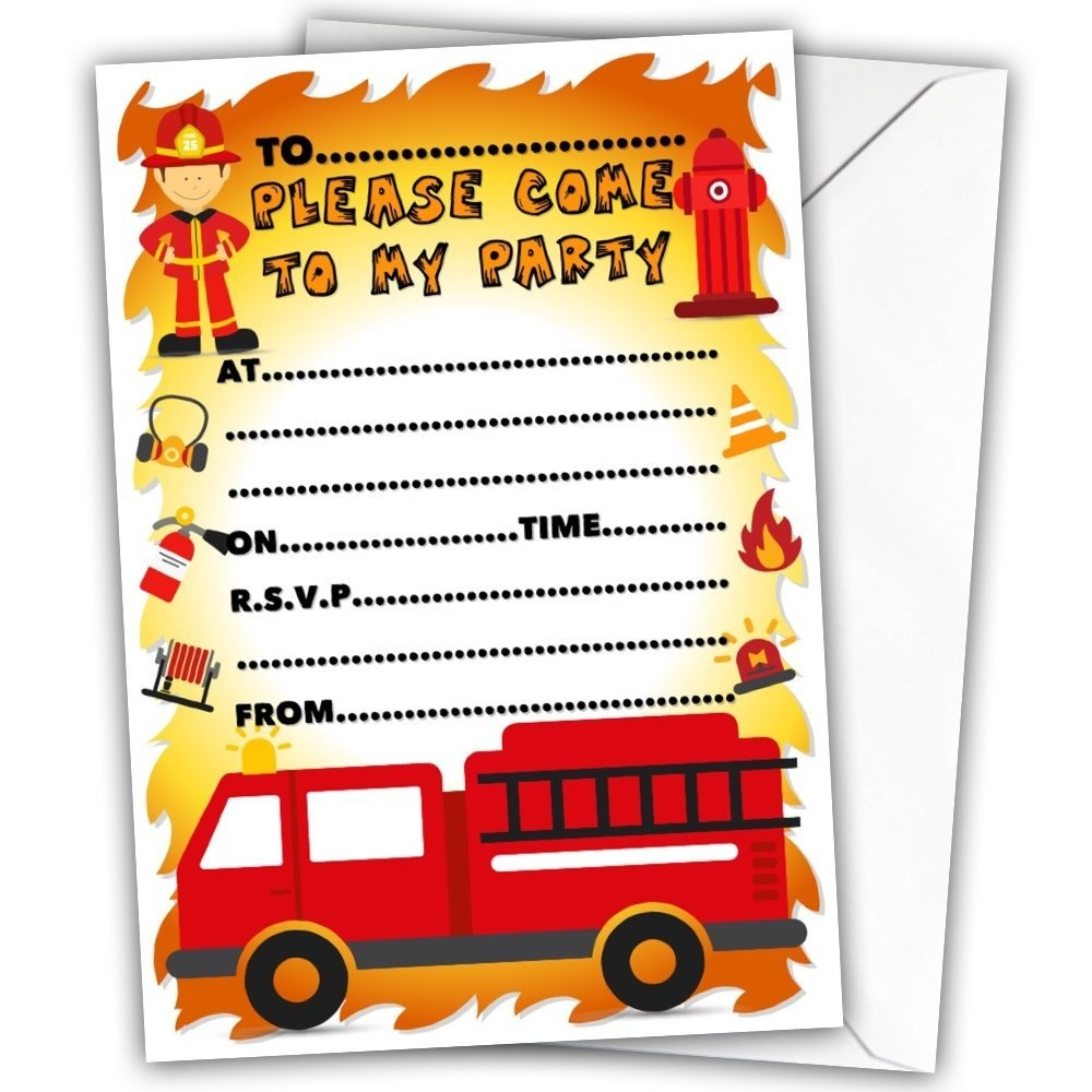 Fireman Glossy Invitations Cards Pack of 20 with 20 x Envelopes ...