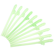 ECYC 10Pcs Sexy Hen Night Willy Drinking Straw Dicky Sipping Straws[Green]